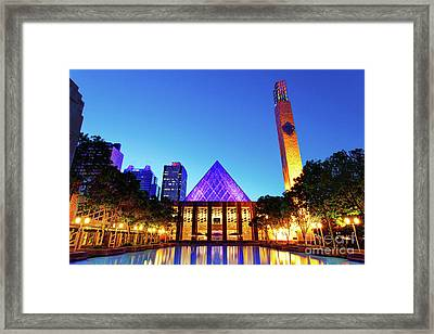 Edmonton City Hall At Dusk Framed Print by Ian MacDonald