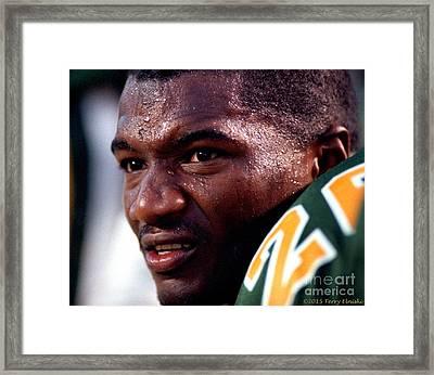 Edmonton Eskimos Football - Reggie Taylor Close-up 1990 Framed Print by Terry Elniski