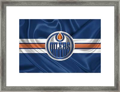 Edmonton Oilers - 3 D Badge Over Silk Flag Framed Print by Serge Averbukh