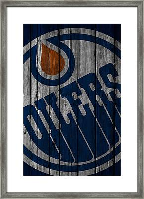 Edmonton Oilers Wood Fence Framed Print by Joe Hamilton