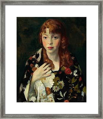 Edna Smith In A Japanese Wrap Framed Print by Robert Henri