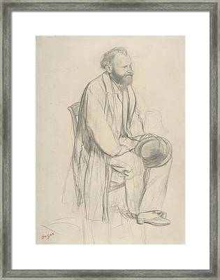 Edouard Manet, Seated, Holding His Hat Framed Print