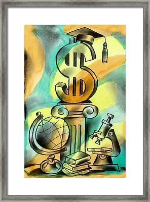 Education And Money Framed Print by Leon Zernitsky
