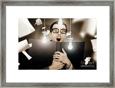 Education Smart Man Learning Bright Idea Framed Print