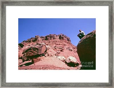 Edward Abbey On Rocks In The Desert, 1969 Framed Print