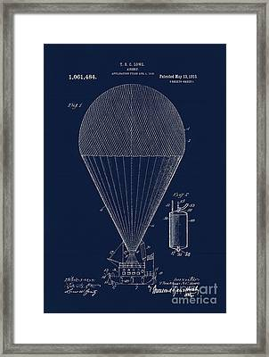 Edwardian Age Airship Blueprint Patent Drawing, Steampunk Framed Print by Tina Lavoie