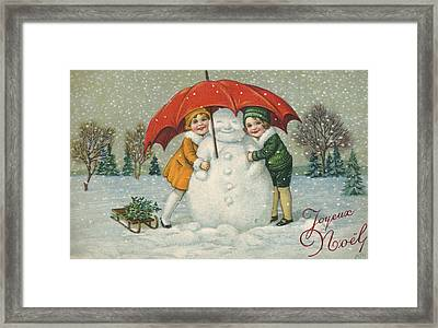Edwardian Christmas Card Framed Print by English School