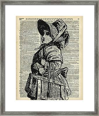 Edwardian Girl With Basket Framed Print by Jacob Kuch