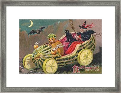 Edwardian Halloween Card Framed Print