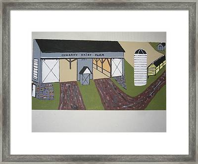 Framed Print featuring the painting Edwards Dairy Farm by Jeffrey Koss