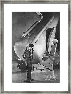Edwin Hubble And Telescope Palomar Framed Print by Science Source