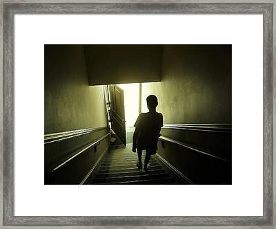Eerie Stairwell Framed Print by Scott Hovind
