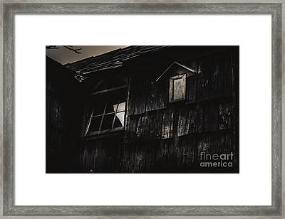 Eerie Vintage Abandoned Home. The Dark Shack Framed Print by Jorgo Photography - Wall Art Gallery