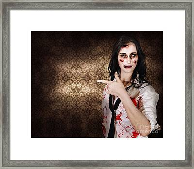Eerie Woman Pointing To Halloween Copyspace Framed Print