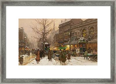 eet scene in Paris in the winter Framed Print by MotionAge Designs