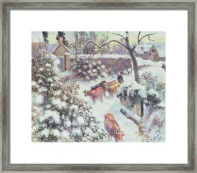 Effect Of Snow At Montfoucault Framed Print by Camille Pissarro