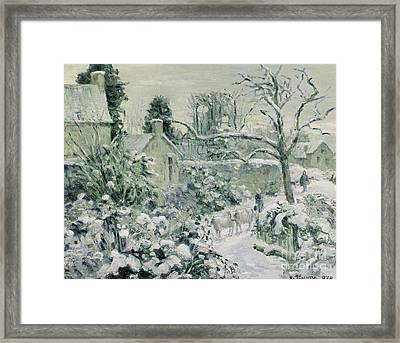 Effect Of Snow With Cows At Montfoucault Framed Print by Camille Pissarro