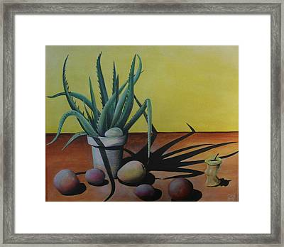 Egg And Aloe Framed Print