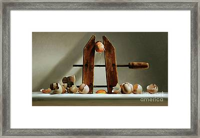 Egg And Shells With Wood Clamp Framed Print by Larry Preston