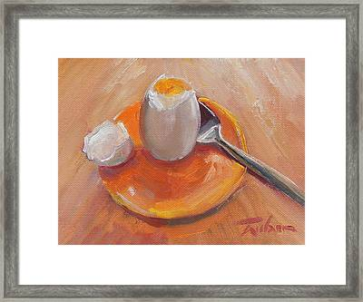 Egg And Spoon Framed Print by Ron Wilson