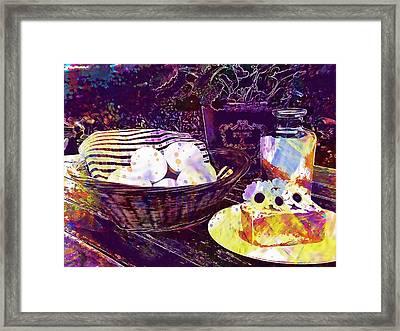 Framed Print featuring the digital art Egg Milk Butter Out Garden Herbs  by PixBreak Art