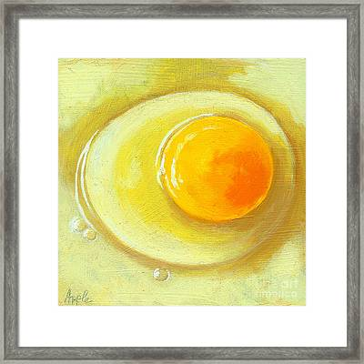 Egg On A Plate - Realism Painting Framed Print by Linda Apple