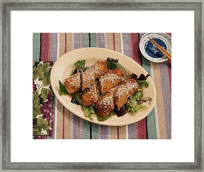 Framed Print featuring the digital art Egg Rolls And Sesame by Jana Russon