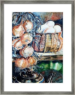 Eggs And Onions In The Larder  Framed Print by Trudi Doyle