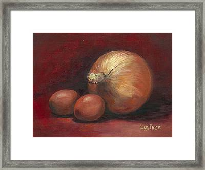 Eggs And Onions Framed Print by Liz Rose