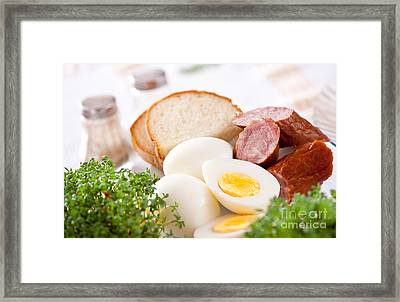 Eggs And Sausage Traditional Easter Food Framed Print
