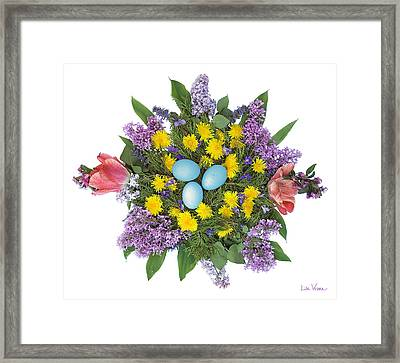 Eggs In Dandelions, Lilacs, Violets And Tulips Framed Print by Lise Winne