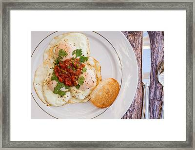 Eggs With Salsa And Toast #1 Framed Print