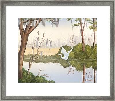 Egret In Flight 1 Framed Print by Denise Fulmer