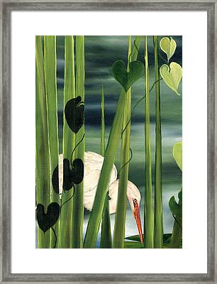 Framed Print featuring the painting Egret In Reeds by Anne Beverley-Stamps