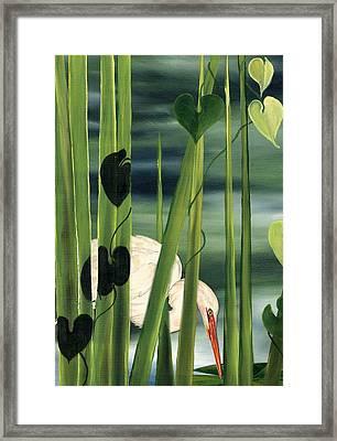 Egret In Reeds Framed Print by Anne Beverley-Stamps