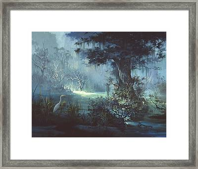 Egret In The Shadows Framed Print by Michael Humphries