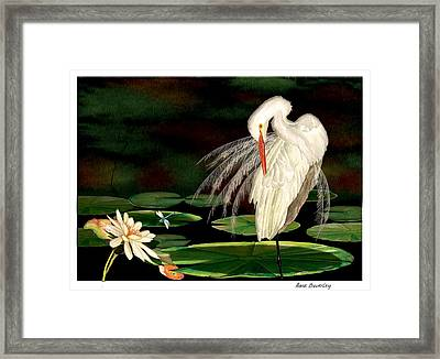 Framed Print featuring the painting Egret Pruning In Lily Pads by Anne Beverley-Stamps