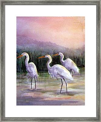 Egrets At Sunset Framed Print by Suzanne Krueger