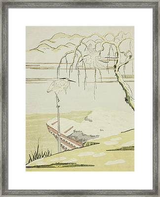 Egrets In The Snow Framed Print by Suzuki Harunobu