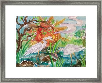 Egrets Fishing At Sunset Framed Print