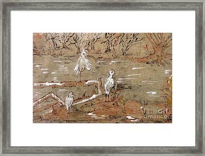 Egrets On Driftwood Framed Print