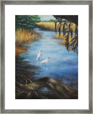 Egrets On The Ashley At Charles Towne Landing Framed Print by Pamela Poole