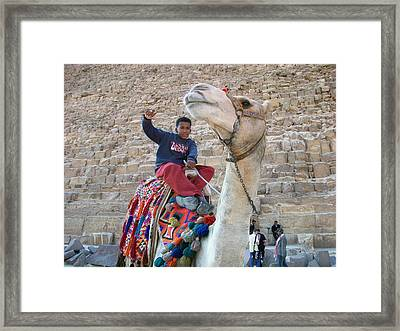 Egypt - Boy With A Camel Framed Print by Munir Alawi