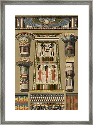 Egyptian, Architecture And Painting Framed Print by Egyptian School