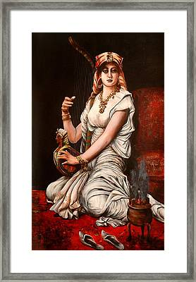 Egyptian Lady With Harp Framed Print