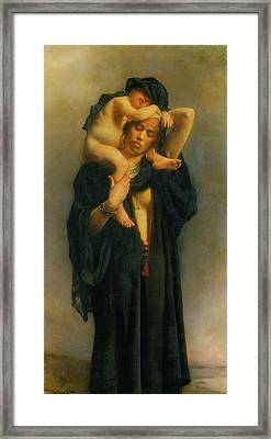 Egyptian Peasant Woman And Her Child Framed Print