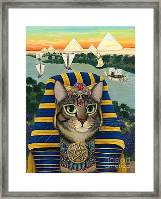 Egyptian Pharaoh Cat - King Of Pentacles Framed Print