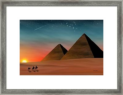 Egyptian Pyramids Framed Print by John Wills
