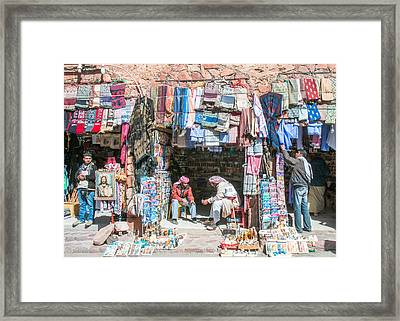 Egyptian Shop Keepers Framed Print by Roy Pedersen