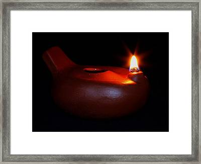 Egyptian Style Lamp - Terracotta 12 Framed Print
